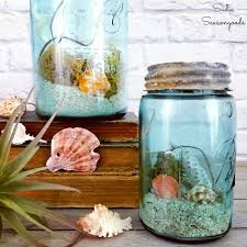 DIY Beach Decor Or Ocean Decor In Vintage Mason Jars For Summer
