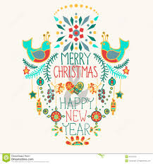 Christmas Background With Cute Floral Ornament And Hand Drawing