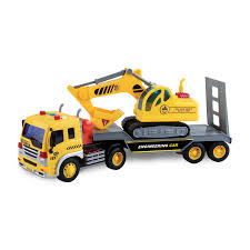 100 Truck Maxx Action 116 Scale Long Hauler With Excavator Transport With Realistic Lights And Sounds Walmartcom
