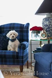 Deep Blue Tartan Side Chair Paired With A Navy Twill Sofa