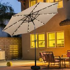 Gymax 9 FT Patio Waterproof Solar Umbrella LED Light Tilt Gray