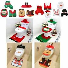 details zu weihnachtsmann badezimmer set wc weihnachten deko toilettenmatte toilettenbezug
