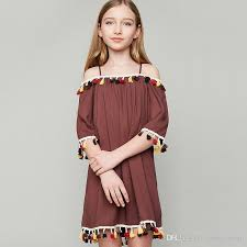 2018 Big Girls Dresses 2017 New Bohemian Style Off Shoulder Tassel Dress Half Sleeve Children Party Kids Holiday Brown Blue A6387 From