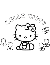 Hello Kitty Flowers And Butterfly Coloring Page