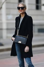 Blonde Woman Wearing Zara Black Wool Coat Grey Sweater Chanel Boy Bag Fashion Jackson Dallas