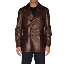 men double breasted leather blazer classic men long sleeves