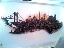 istanbul skyline graffiti im wohnzimmer graffiti