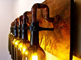 Beautifully Homeshetics Decor Ideas With Wine Bottle Lights Pipe Arm And Black Metal