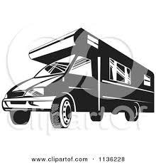 Retro Black And White Camper Van By Patrimonio