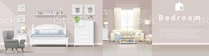 moderne landhaus innenhintergrund mit schlafzimmer und wohnzimmer kombination vektor illustration stock vektor und mehr bilder architektur