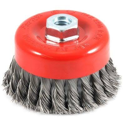 "Forney Threaded Arbor Knotted Wire Cup Brush - 4""x5/8"", 11 Thread"