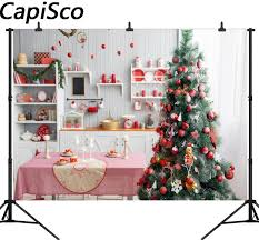 Capisco Christmas Tree Background Kitchen For Photo Studio Child Cook Backdrop Photobooth Photocall Photography Shoot