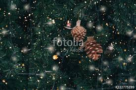 Vintage Christmas Tree With Pine Cone Decoration And Sparkle Light Filter Effect New