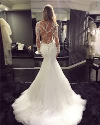 2017 vintage lace mermaid wedding dress long sleeve buttons bride