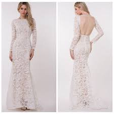 new women white floral lace long sleeve graceful cutout back