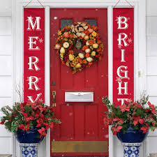WizPower Merry Bright Christmas Banner Merry Bright Porch Sign For Christmas Decoration Outdoor Indoor Christmas Banner Red Xmas Decor Banners For