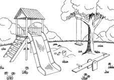 Playground Graphic Black White Landscape Sketch Illustration Royalty Free Stock Photography