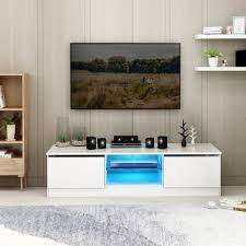 tv schrank tv einheit lowboard fernseher hochglanz schrank möbel led 120cm weiß wohnmöbel mit 16 farben led rgb leuchtet
