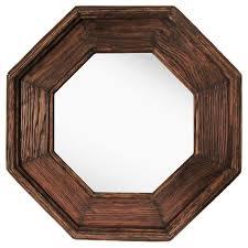 Octagonal Decorative Wall Mirror Rustic Wood Finish