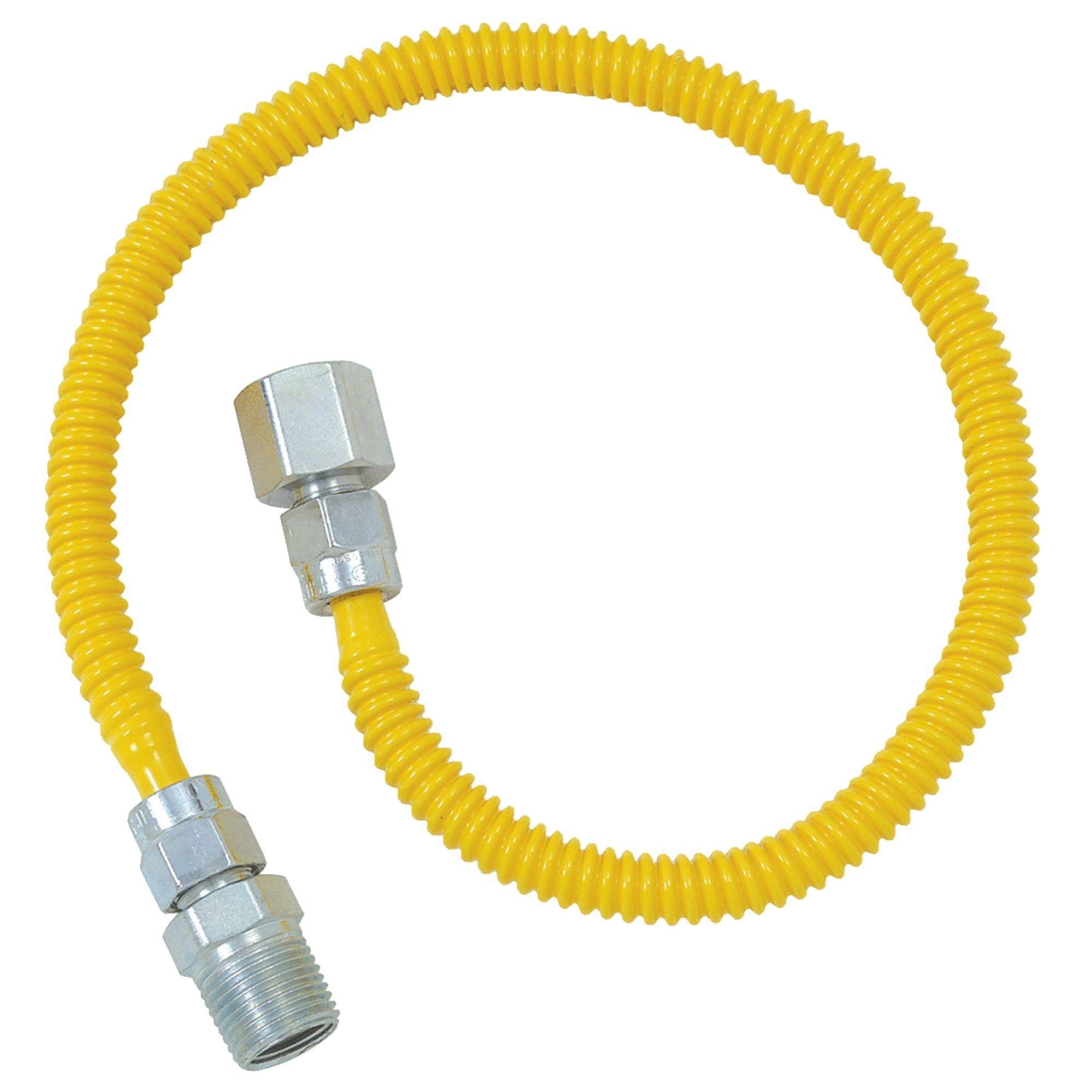"Brasscraft Procoat Coated Gas Appliance Connector - with Fittings, 1/2"" Fip x 1/2"" Mip x 24"", Stainless Steel"