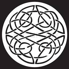 A celtic knot and pattern in a circle design