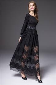 turmec long sleeve black lace dress maxi