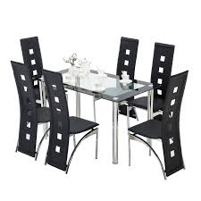 100 6 Chairs For Dining Room Kenwell 7 Piece Table Set Glass Metal Kitchen