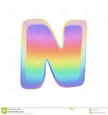 Letter N Logo With Blue Yellow Red Particles And Bubbles Dots