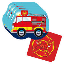 100 Fire Truck Plates Shaped Plate Napkin Sets For 32 Guests Blue Orchards