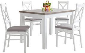 mb moebel esstisch mit 4 stühlen 110x70 oder 120x80 weiß