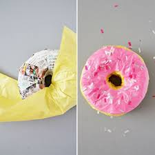 Step 6 Wrap The Tissue Paper For Donut Pinata Fold One Piece Of