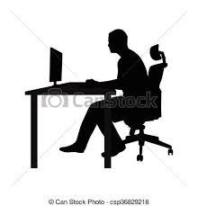 bureau clipart fonctionnement moniteur bureau séance côté silhouette