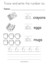 Trace And Write The Number Six Coloring Page