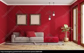 lizenzfreies foto 26891840 rotes wohnzimmer mit modernem