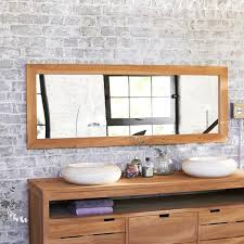 Interior Bathroom Design And Decoration Using White Brick Wall Panels Including Rectangular Solid Teak