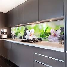 wandmotiv24 küchenrückwand orchidee bambus steine glas 240 x 60cm b x h acrylglas 4mm nischenrückwand spritzschutz fliesenspiegel ersatz deko