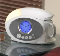 coffee maker and an alarm clock all in one pact bedside design