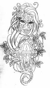 Day Of The Dead Coloring Page More