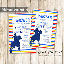Polo Invitation Yellow Red Blue Baby Shower Printable Instant