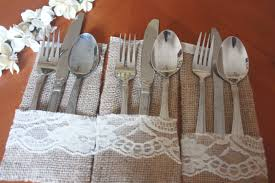 Burlap And Lace Silverware Holder