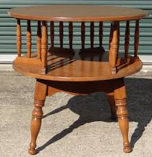 Ethan Allen Cherry Secretary Desk by Ethan Allen Heirloom Nutmeg Solid Maple Revolving Drum Table 10