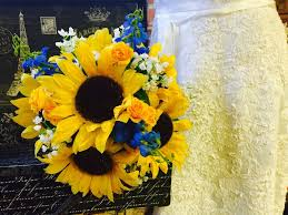 Sunflower Bouquet Babies Breath Blue Silk Flowers Bridal Wedding Yellow