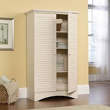 White Storage Cabinets At Home Depot by Sauder Harbor View Antiqued Storage Cabinet 400742 The Home Depot