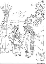 Adult Two Native Americans By Marion C Coloring Pages