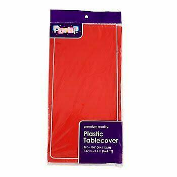 "Party! Plastic Rectangle Party Tablecloth - Red, 54"" x 108"""