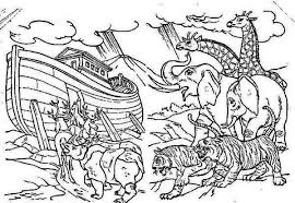 A Pair Of Each Animal Onboard The Noahs Ark Colouring Page