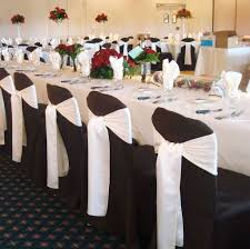 Dining Room Dark Brown Chair Cover With White Ribbon For Party