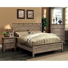 Furniture Of America Vine II Rustic Style Solid Wood Bed Eastern King Reclaimed Oak