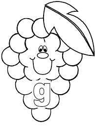 Grapes For Smiling Letter G Coloring Pages
