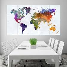 Rainbow Watercolor World Map Block Giant Wall Art Poster
